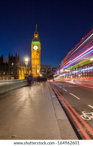 Big Ben at night, London, England - stock photo
