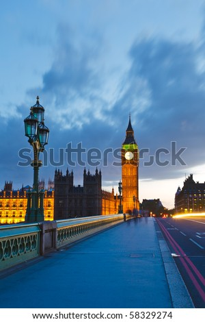 Big Ben at night, London, UK - stock photo