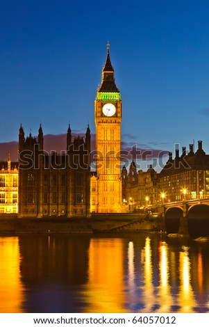 Big Ben at night, UK - stock photo