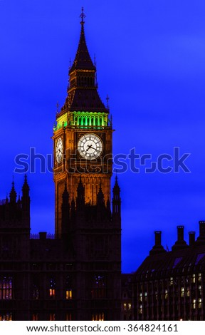 Big Ben at night, Westminster, London, UK - stock photo