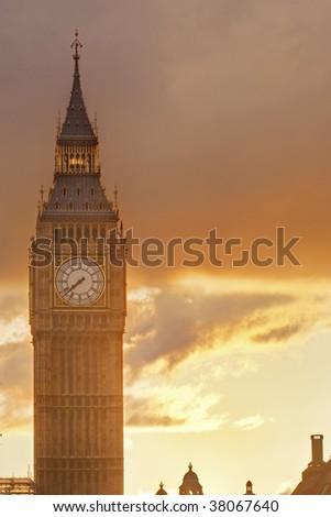 Big Ben at sunset - stock photo