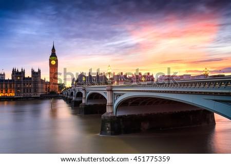 Big ben at sunset in London, Uk.  - stock photo