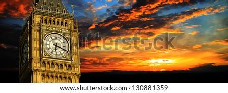 Big Ben at sunset panorama, London - stock photo