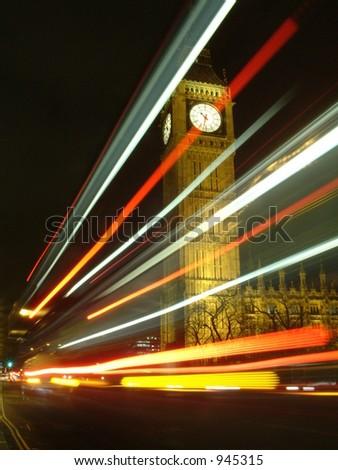 Big Ben Bus Trail - stock photo