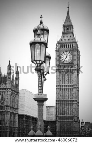 Big Ben clock and Houses of Parliament in London England - stock photo
