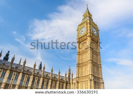 Big Ben Clock Tower and House of Parliament, London, England, UK - stock photo