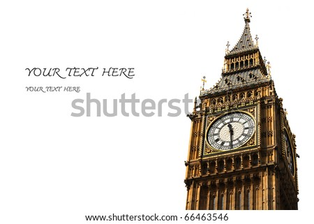 big ben clock tower and space for text - stock photo