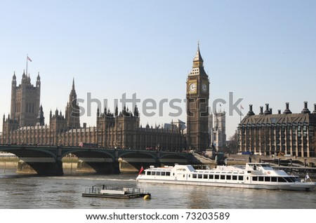 Big Ben clock tower and Thames in Westminster, London - stock photo
