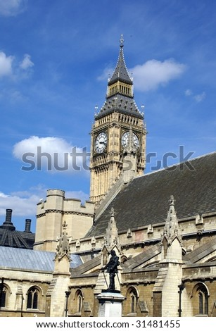 Big Ben/ Clock Tower and Westminster or the British parliament - stock photo