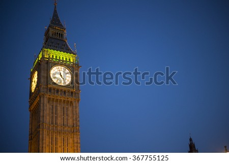 Big Ben Clock Tower at city of Westminster at night, London, England UK. - stock photo