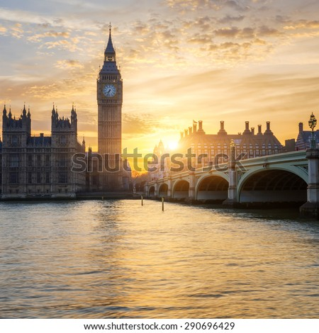 Big Ben clock tower at sunset, London, UK.  - stock photo