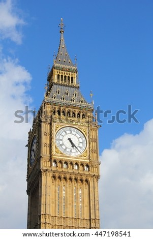 Big Ben clock tower - landmark of London, UK. - stock photo