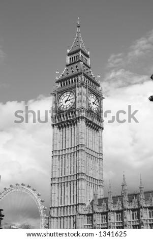 Big Ben/ Clock Tower, London Eye - stock photo