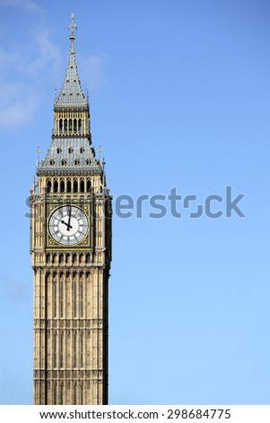 Big Ben clock tower London, isolated against sky, vertical, copy space - stock photo