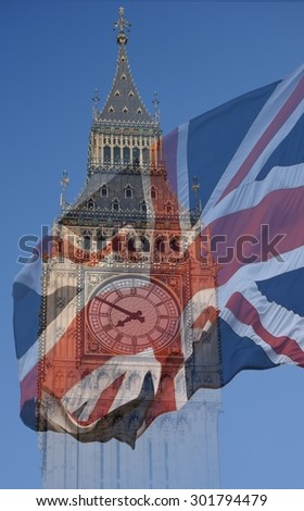 Big Ben, Clock Tower, Parliament House and British Flag merged in a double exposure shot of flag and historic London Building - stock photo