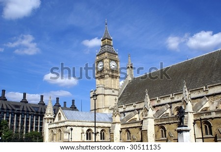 Big Ben. Clock Tower. The top of Westminster Palace/ The British parliament - stock photo