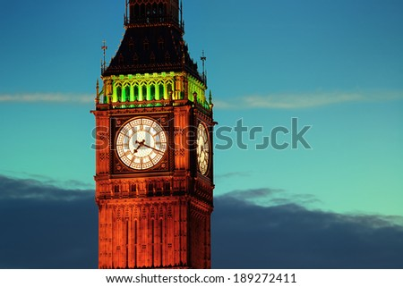 Big Ben closeup in London at dusk.
