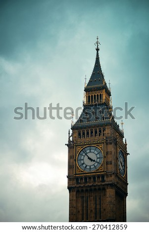 Big Ben closeup in Westminster, London. - stock photo