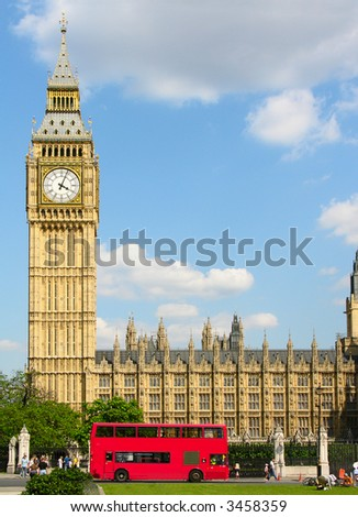 Big Ben - famous clock and London landmark. - stock photo