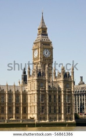 Big Ben, House of Commons Part of the Palace of Westminster in London, home to Members of Parliament of the UK legislature - stock photo