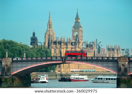 Big Ben, House of Parliament and Lambeth Bridge with red bus in London. - stock photo