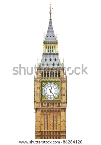 Big Ben, Houses of Parliament - isolated over white - stock photo