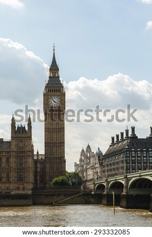 Big Ben, Houses of Parliament, Thames and London Bridge  - stock photo