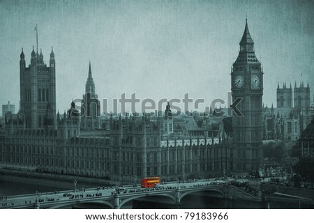 Big Ben, Houses of Parliament, Westminster Palace. Double Decker bus in evidence. London, United Kingdom. Vintage effect. - stock photo