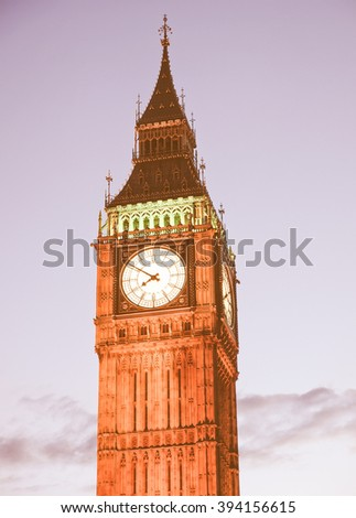 Big Ben Houses of Parliament Westminster Palace London gothic architecture - at night vintage