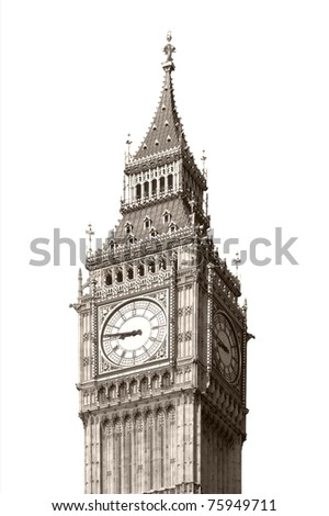 Big Ben, Houses of Parliament, Westminster Palace, London gothic architecture - isolated over white background - rectilinear frontal view - stock photo