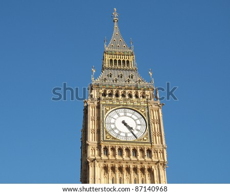 Big Ben Houses of Parliament Westminster Palace London gothic architecture - over blue sky background