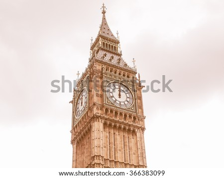 Big Ben Houses of Parliament Westminster Palace London gothic architecture vintage - stock photo