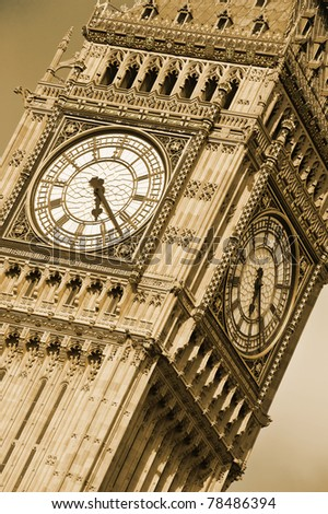 Big Ben, Houses of Parliament, Westminster Palace. London, United Kingdom. Sepia tone. - stock photo