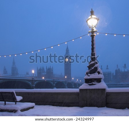 Big Ben in a rare Snow Blizzard - stock photo