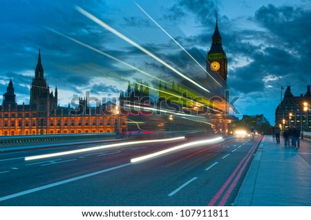 Big Ben in evening with traffic on the bridge, London, England - stock photo