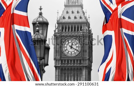 Big Ben in London and English flag - black and white photo - stock photo