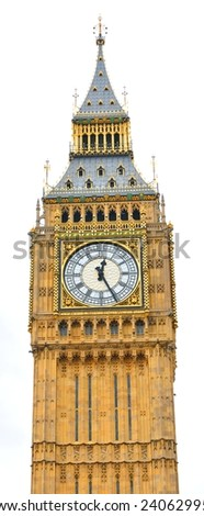 Big Ben in London isolated against white - stock photo