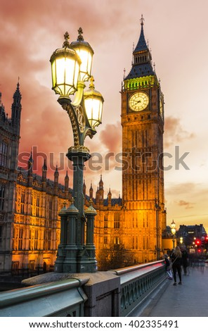 Big Ben in London, United Kingdom, during dramatic sunset - stock photo