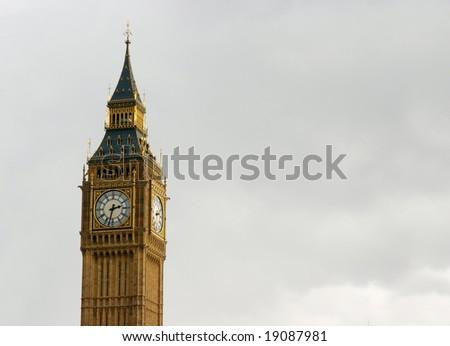 Big Ben in overcast English weather - stock photo