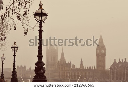 Big Ben in the fog with instagram style filter. - stock photo