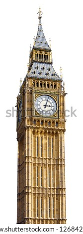Big Ben in Westminster, London, cut out with a white background. - stock photo