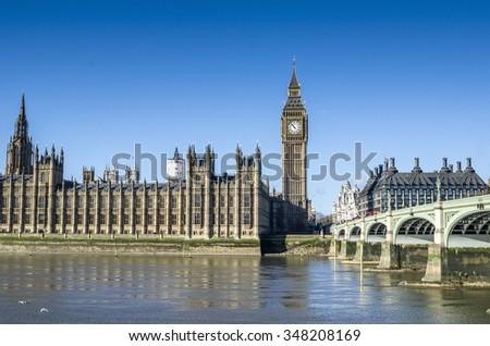 Big Ben in Westminster, London, Great Britain - stock photo