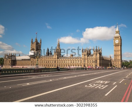Big Ben in Westminster with the blur of people outside. There is space for text in the image. - stock photo