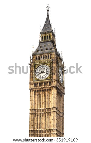 Big Ben isolated on white background, London. - stock photo