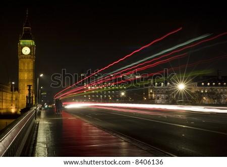 Big Ben, London, England shot at night across Westminster Bridge - stock photo