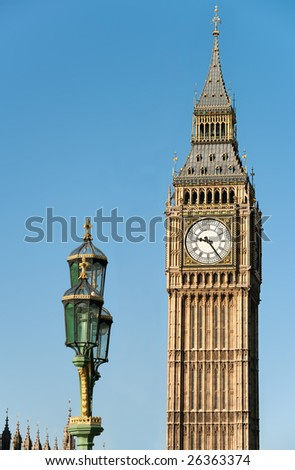 Big Ben, London, England, UK, with Westminster Bridge lamps in the foreground, in the morning light