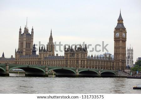 Big Ben, London gothic architecture, UK - stock photo