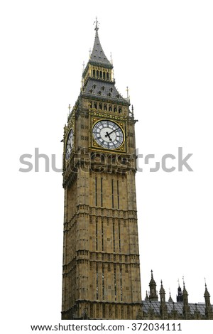 Big ben, London, UK isolation on white background. Clipping path included - stock photo
