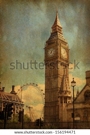 Big Ben,  London, UK. View from Abingdon street. added paper texture - stock photo
