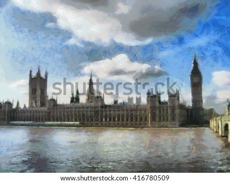 Big Ben. London watercolor illustration.
